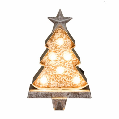 Glitzhome Marquee LED Christmas Tree Stocking Holder Perspective: front