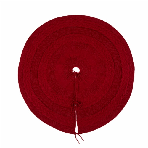 Glitzhome Knitted Acrylic Red Holiday Christmas Tree Skirt - Red Perspective: front