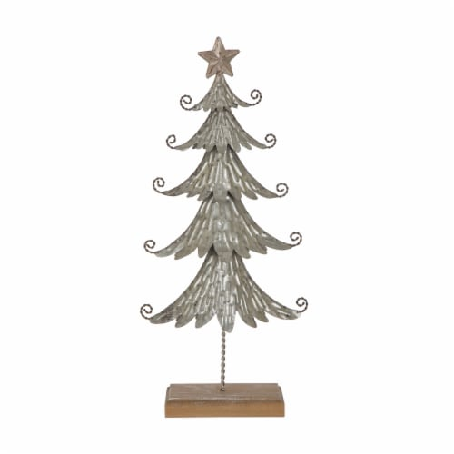 Glitzhome Wood and Galvanized Metal Christmas Tree Decor - Silver Perspective: front