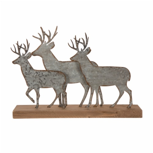 Glitzhome Galvanized Metal and Wooden Reindeer Table Decor - Silver Perspective: front