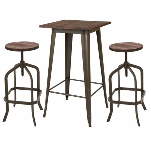 Glitzhome Rustic Steel Bar Table and Stools Set Perspective: front
