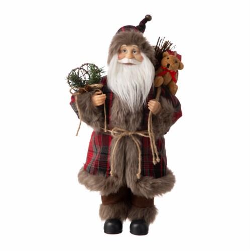 Glitzhome Faux Fur Plaid Santa Figurine Christmas Decoration Perspective: front