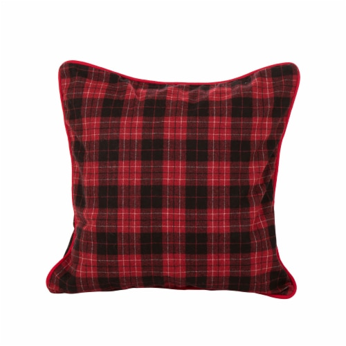 Glitzhome Farmhouse Plaid Throw Pillow Cover - Red & Black Perspective: front