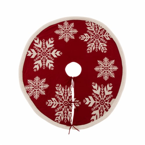 Glitzhome Knitted Acrylic Snowflake Christmas Tree Skirt Perspective: front