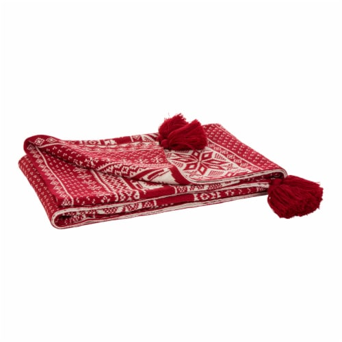 Glitzhome Knitted Snowflake Acrylic Tassels Throw Blanket Perspective: front