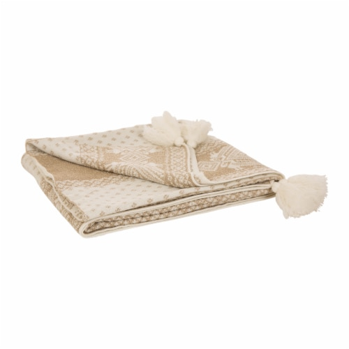 Glitzhome Knitted Acrylic Lurex Tassel Throw Blanket - Beige Gold Perspective: front