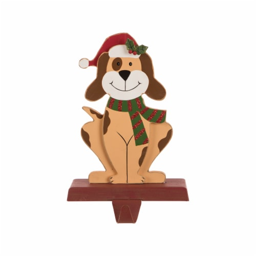 Glitzhome Wood and Metal Dog Weighted Christmas Stocking Holder Perspective: front