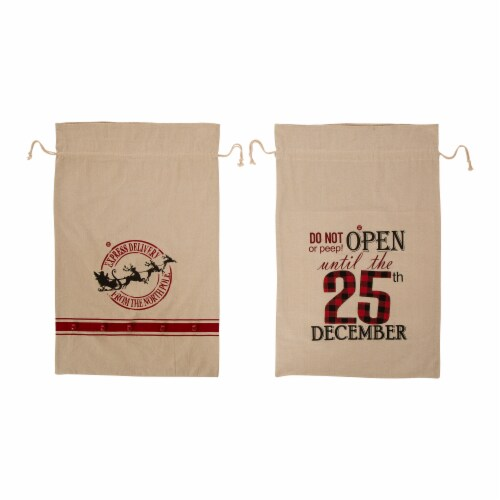 Glitzhome LED Lighted Burlap Gift Sacks Perspective: front