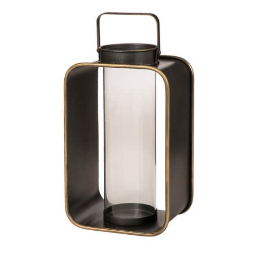 Glitzhome Industrial Metal Candle Lantern Home Decoration - Brown Perspective: front
