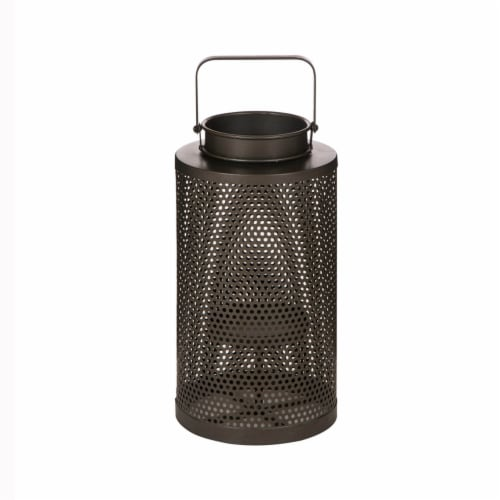 Glitzhome Industrial-Style Indoor/Outdoor Lantern Perspective: front