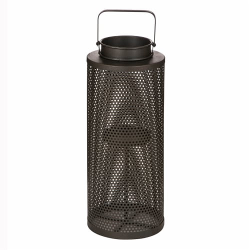 Glitzhome Industrial Style Metal Candle Lantern Perspective: front