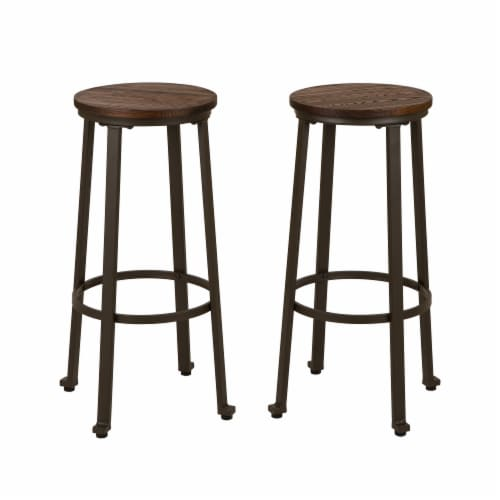 Glitzhome Rustic Steel and Elm Wood Bar Stool - Coffee Perspective: front