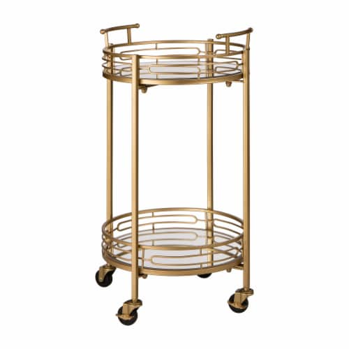 Glitzhome Deluxe Metal Round Mirrored Bar Cart - Gold Perspective: front