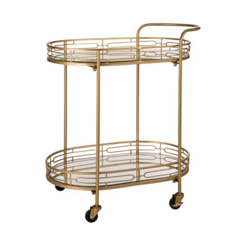 Glitzhome Deluxe Metal Oval Mirrored Bar Cart with 2 Shelves Perspective: front