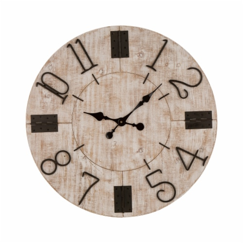 Glitzhome Oversized Farmhouse Whitewashed Wooden Wall Clock Perspective: front