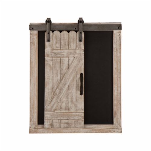 Glitzhome Farmhouse Barn Door Wooden Chalkboard Wall Decor Perspective: front