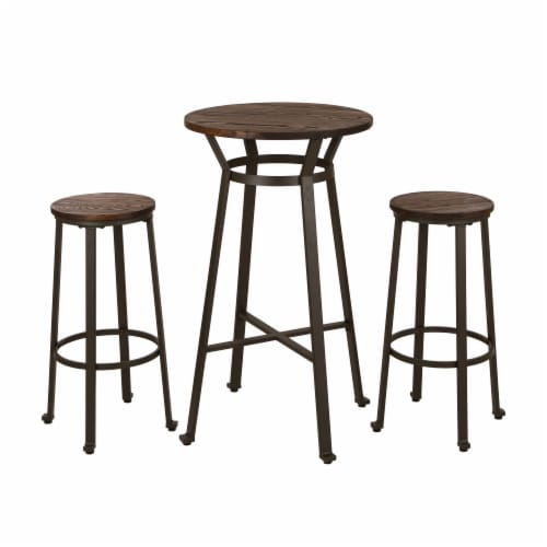 Glitzhome Rustic Steel with Elm Wood Pub Set Perspective: front