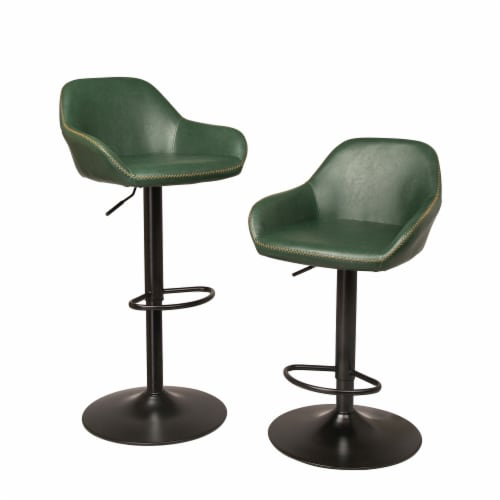 Glitzhome Modern Vintage Leatherette Gaslift Adjustable Swivel Bar Stool - Green Perspective: front