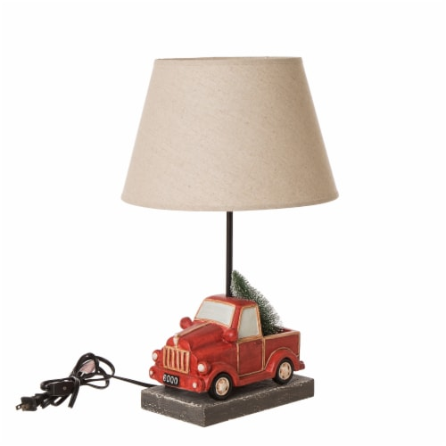 Glitzhome Christmas Truck Table Lamp with Burlap Shade Perspective: front