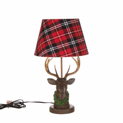 Glitzhome Christmas Reindeer Table Lamp with Plaid Shade Perspective: front