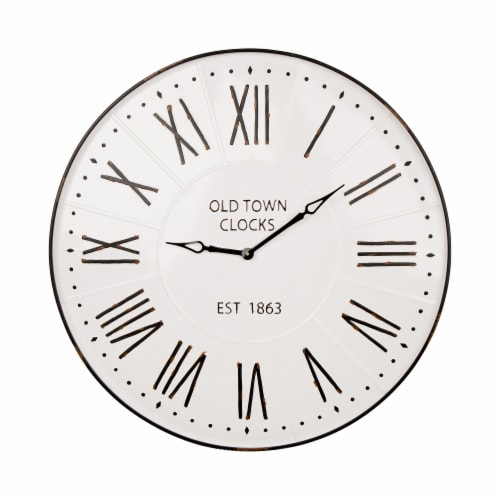Glitzhome Oversized Farmhouse Metal Enamel Wall Clock - White Perspective: front
