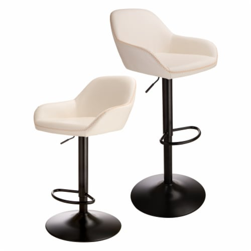 Glitzhome Mid-Century Modern Leatherette Gaslift Adjustable Swivel Bar Stools - White Perspective: front