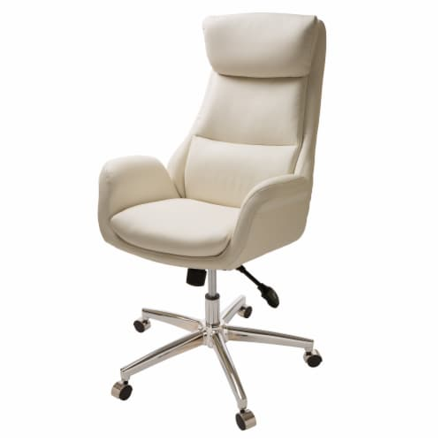 Glitzhome Mid-Century Modern Bonded Leather Gaslift Adjustable Swivel Office Chair - Cream Perspective: front