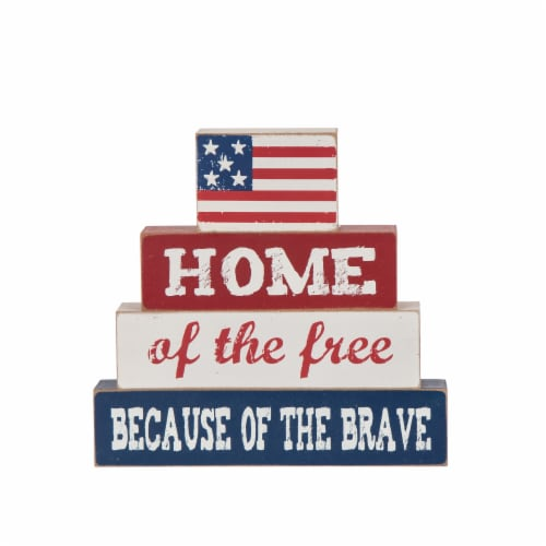 Glitzhome Patriotic Americana Wooden Block Free-Standing Table Decor Perspective: front