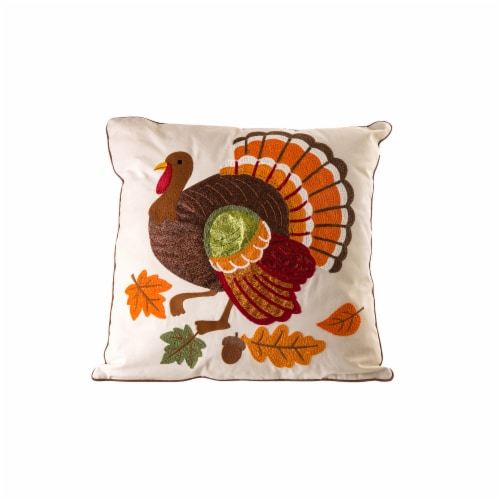 Glitzhome Embroidered Cotton Thanksgiving Turkey Pillow Cover Perspective: front