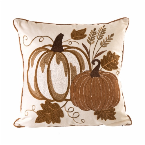 Glitzhome Cotton Embroidered Pumpkin Pillow Cover Perspective: front