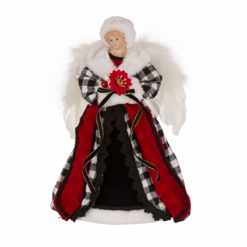 Glitzhome Plaid 3D Angel Figurine Tree Topper - Black/White Perspective: front