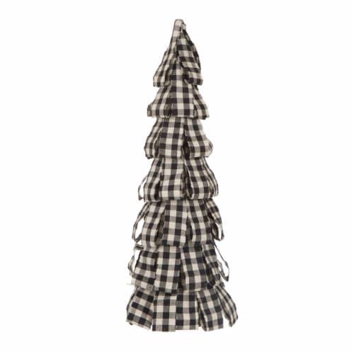 Glitzhome Plaid Fabric Christmas Tree Decor - Black/White Perspective: front