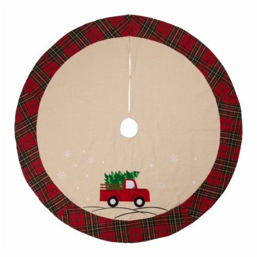 Glitzhome Fabric Christmas Tree Truck Skirt - Light Brown / Red Perspective: front