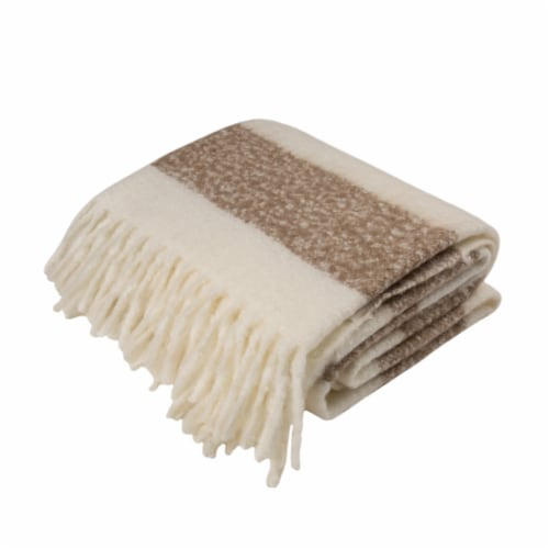 Glitzhome Woven Acrylic Striped Jacquard Tassel Throw Blanket - Tan Perspective: front