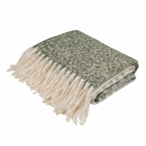 Glitzhome Woven Acrylic Striped Jacquard Tassel Throw Blanket Perspective: front