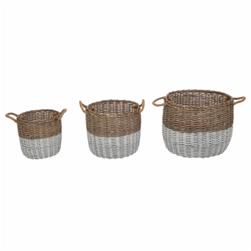 Glitzhome Round Willow Baskets with Rope Handles - Natural/White Perspective: front