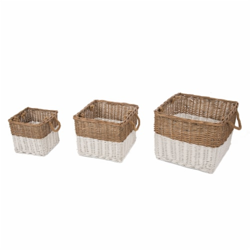 Glitzhome Square Willow Baskets with Rope Handles - Natural/White Perspective: front