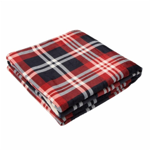 Glitzhome Flanel Plaid Reversible Duvet Cover Perspective: front