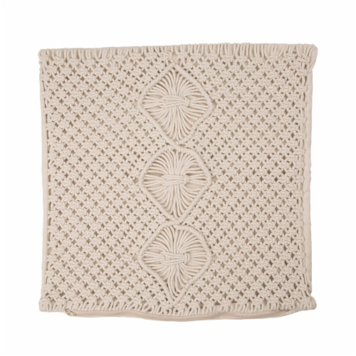 Glitzhome Diamond Handmade Rope Woven Pillow Cover Perspective: front