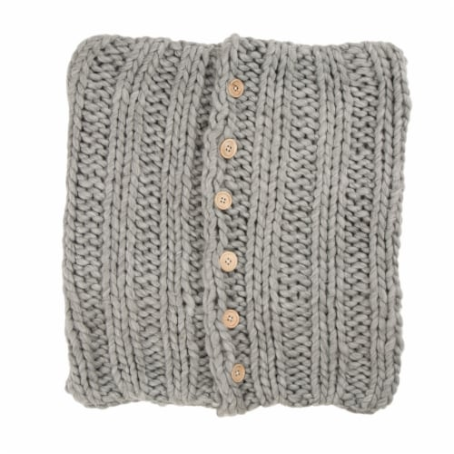 Glitzhome Handmade Acrylic Cable Knit Pillow Cover - Gray Perspective: front