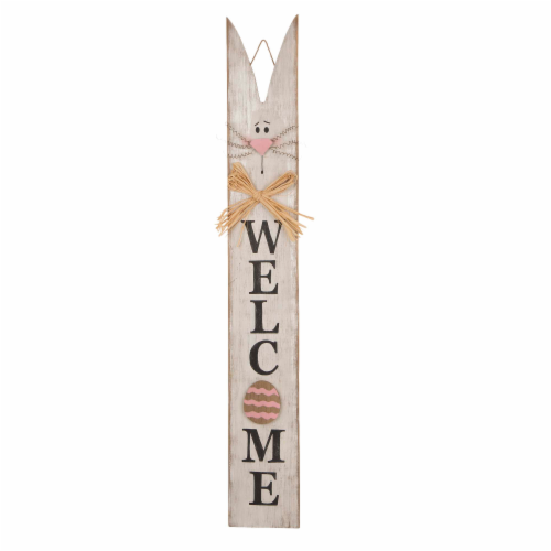 Glitzhome Easter Bunny Ear Wooden Welcome Porch Sign Perspective: front