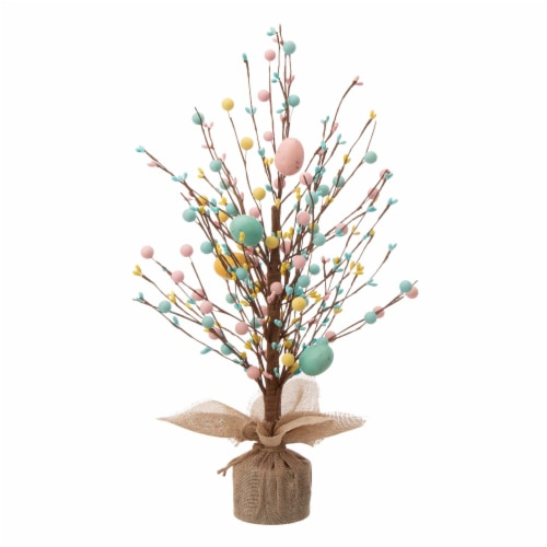 Glitzhome Easter Eggs with Cement Base Table Tree Decoration Perspective: front