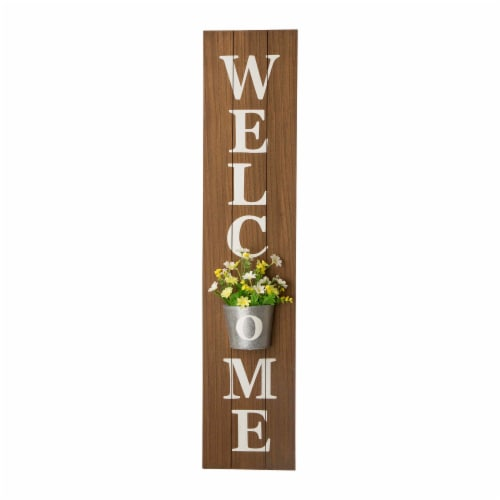 Glitzhome Metal Planter Welcome Porch Sign Perspective: front