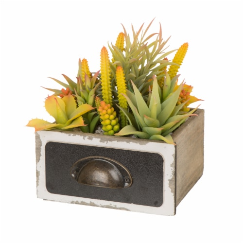 Glitzhome Faux Succulent Plants in Sophisticated Wooden Box Perspective: front