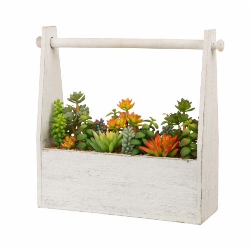 Glitzhome Succulent Plants in Handled Wooden Box - White Perspective: front