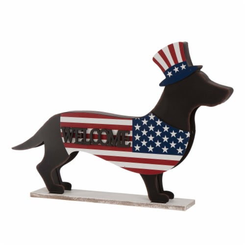 Glitzhome Patriotic Double-Sided Home & Welcome Dachshund Porch Sign Perspective: front