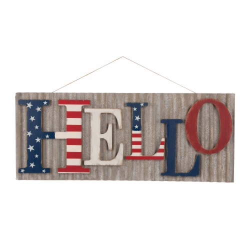 Glitzhome Vintage Metal & Wooden Patriotic Hello Sign Perspective: front