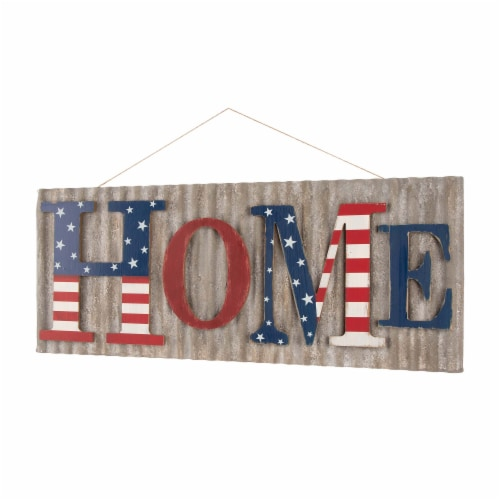 Glitzhome Vintage Metal & Wooden Patriotic Home Sign Perspective: front