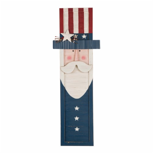 Glitzhome Wooden Patriotic Uncle Sam Hanging Porch Sign Perspective: front