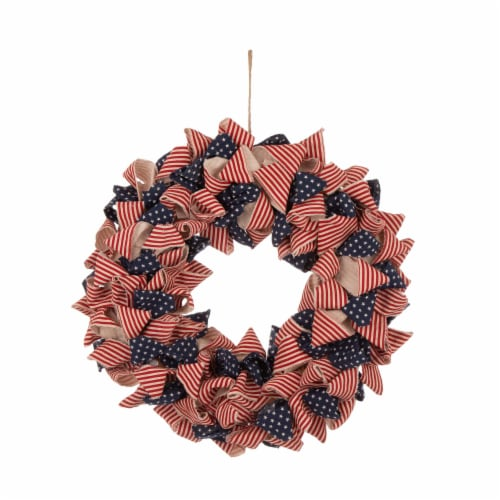 Glitzhome Fabric Patriotic Stripes & Stars Wreath Perspective: front